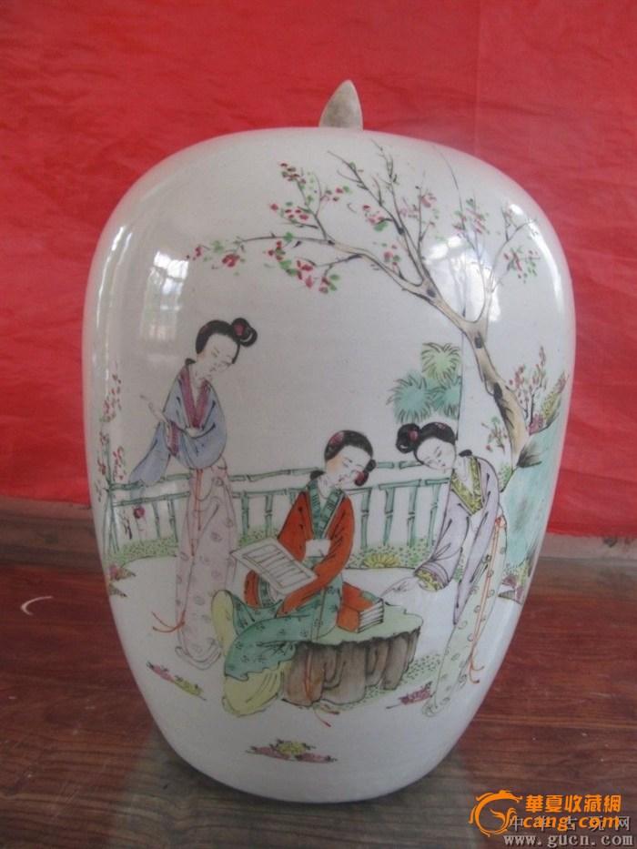 民国早期粉彩仕女人物冬瓜罐一件带盖