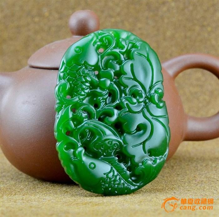和田碧玉籽料镂空雕刻连年有余把件包老保真!
