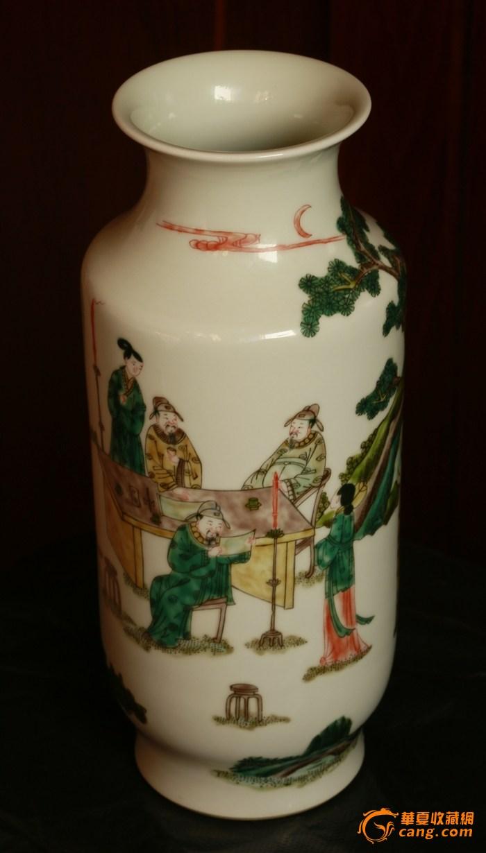 清 中期  五彩人物故事纹象腿瓶(消保卖家低价卖贴)