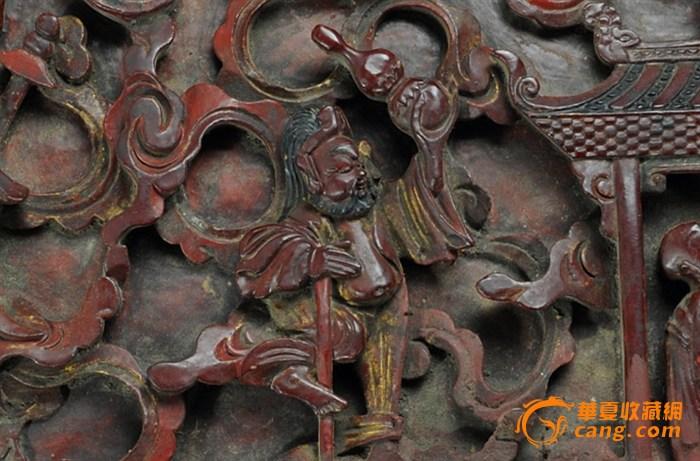 清代老木雕八仙福禄寿三星群仙纹花板