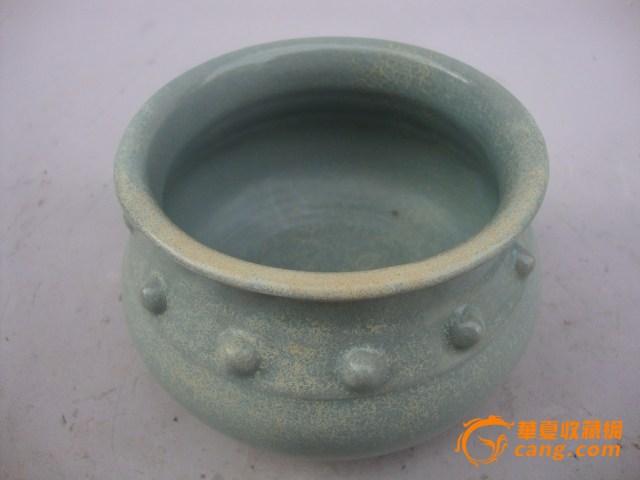 宋代汝窑粉青釉张公巷窑鼓丁香炉.古玩古董瓷器