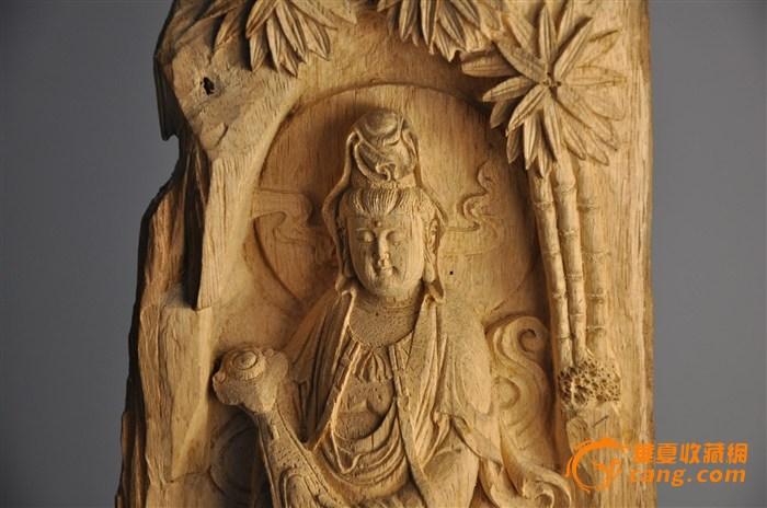 印尼白木沉雕刻观音像