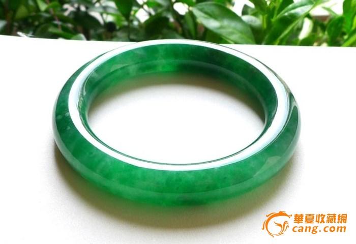 辣绿翡翠圆条玉手镯 天然缅甸老坑a货翡翠玉镯3652收藏级品