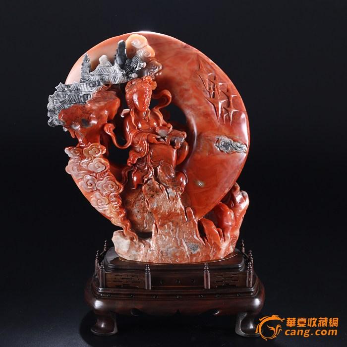 3113g天然寿山石芙蓉石 精雕 蟾宫折桂 摆件图1