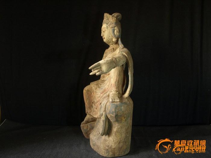 彩绘木雕自在观音菩萨塑像