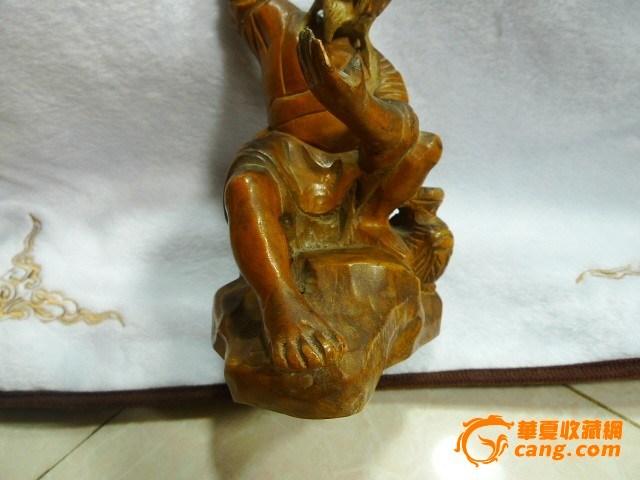 精雕包老黄杨木雕渔翁得利摆件