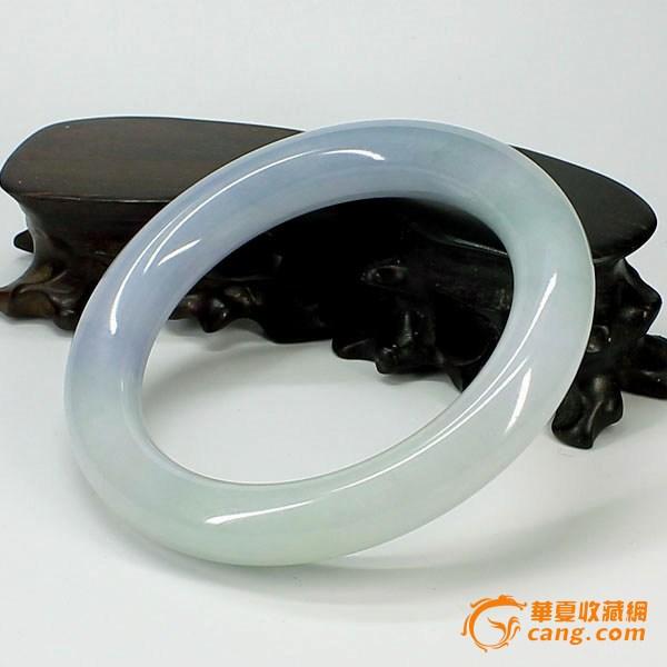 冰种紫罗兰翡翠圆条手镯--0684