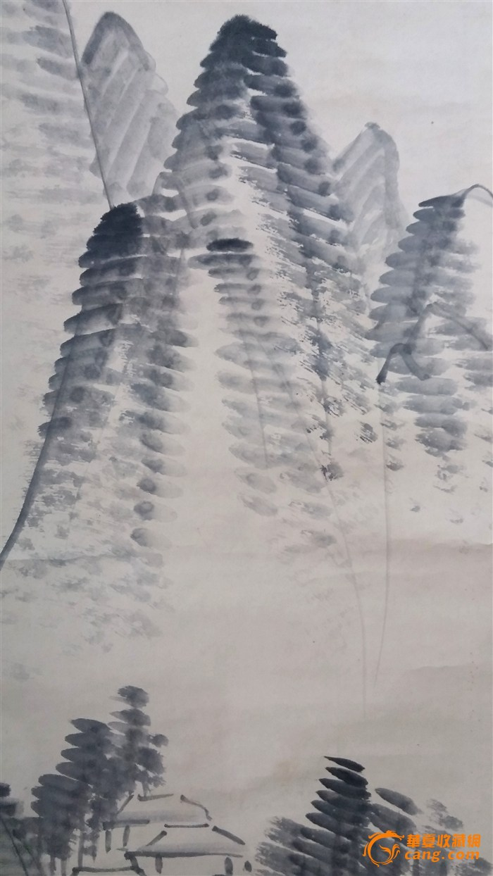 11~12 > 梅园水墨山水画立轴   简笔写意山水,骨质轴头.