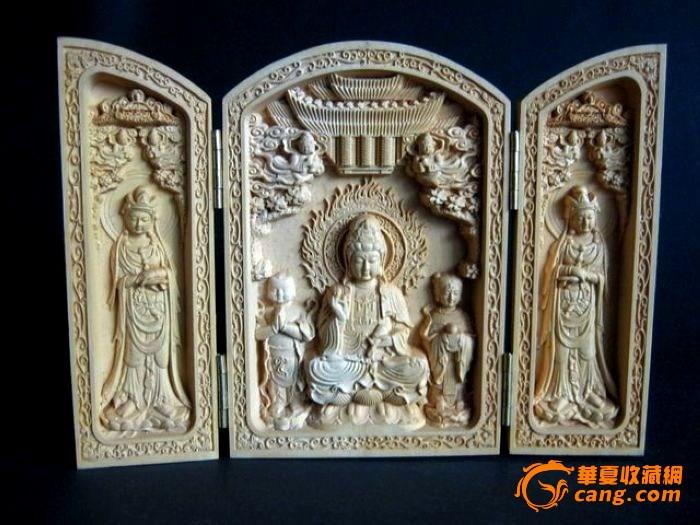 随身佛龛 黄杨木雕观音佛经