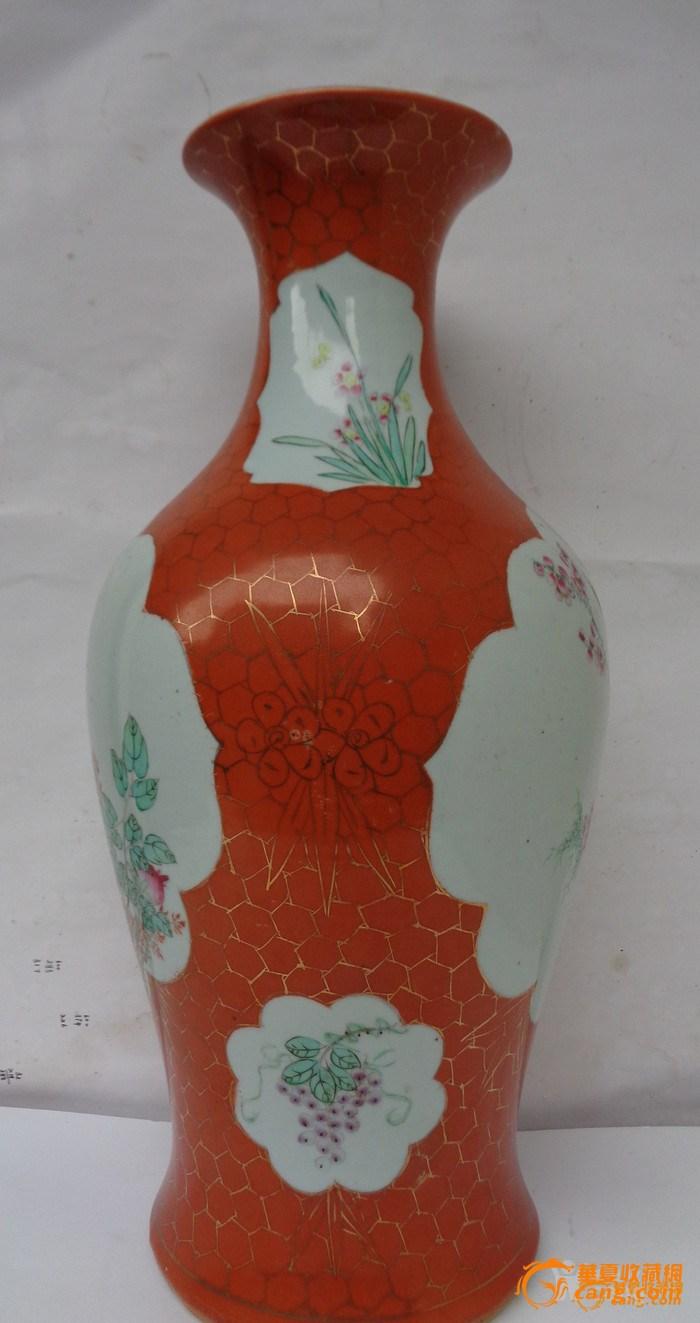 【联盟】清晚民国珊瑚红地粉彩开窗花鸟纹观音瓶图1