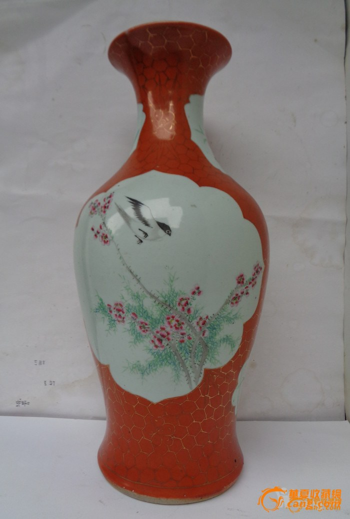 【联盟】清晚民国珊瑚红地粉彩开窗花鸟纹观音瓶图3