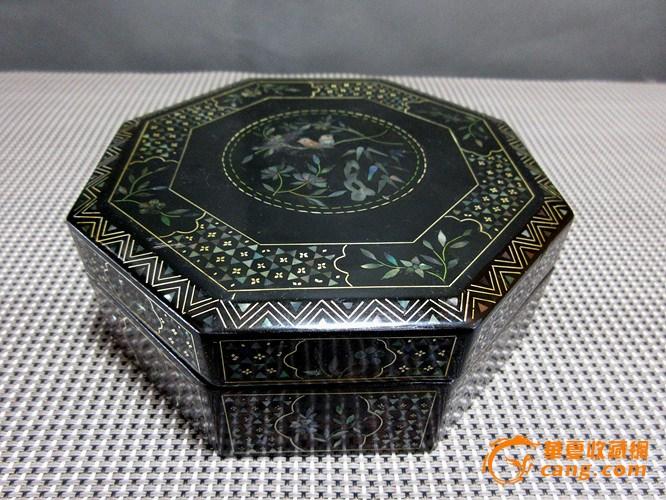 (联盟)回流晚清民国黑大漆嵌金螺钿八角盒