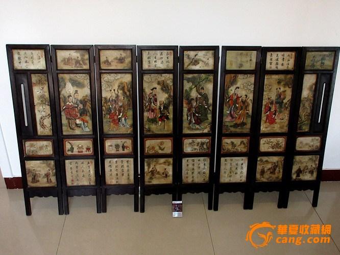 清中期硬木框嵌云石画大桌屏