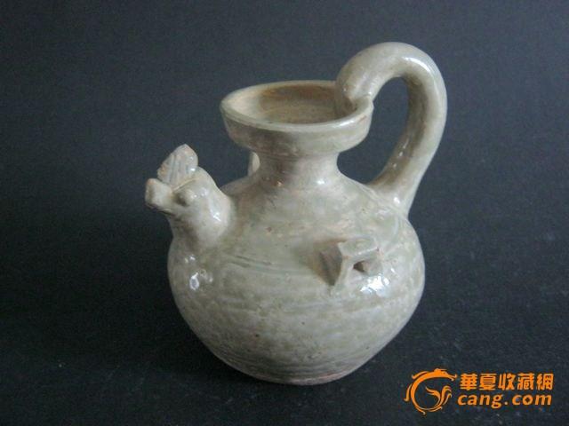 越窑青瓷鸡首壶 文房水滴