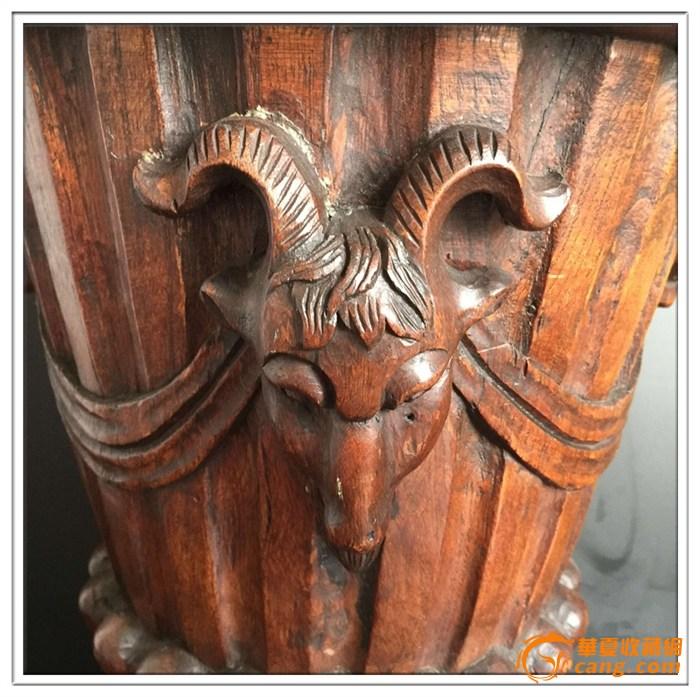 木雕古董树根底座图片