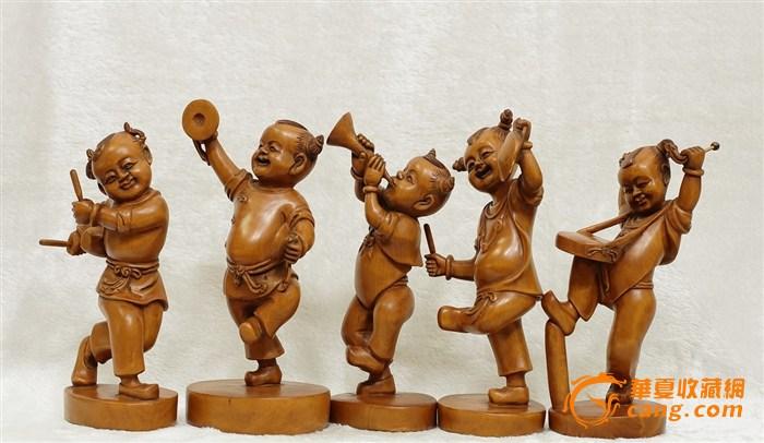首日压轴【木精】典藏黄杨雕敲锣打鼓人物摆件姓关的你出来搞笑图片图片