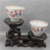 A2451-清雍正蓝料彩矾红茶杯一对(2只)