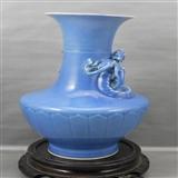 zxc012-清光绪天蓝釉螭龙赏瓶