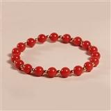 天然意大利沙丁红珊瑚手链 6.5mm 14k金珠隔珠