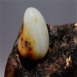 和田玉  脂白虎皮独籽挂件原石 手链籽原石