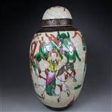 清-晚期战争人物图大罐