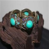 老外贸银烧蓝鎏金掐丝嵌高瓷绿松石手链