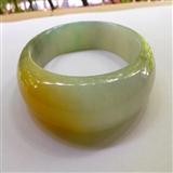 冰种绿加 黄自然光实拍缅甸A货翡翠宽边手镯