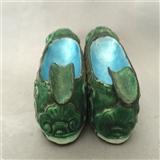 民国[锡戓银]烧蓝老虎鞋