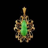 国检证书18K黄金镶嵌钻石冰种满绿葫芦形翡翠吊坠