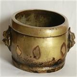 重1212克  清代 狮耳  贴金片  鼓式 铜炉(消保賣家低价賣貼)