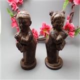 【金童玉女】木雕摆件