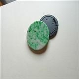 15091翡翠A货 ..老坑种阳绿细腻素面牌送证书