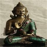 镶嵌了11颗红宝石的清晚期铜佛像(消保卖家低价卖贴)