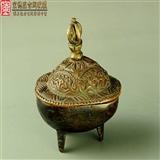 清代藏传佛教法器老铜制托巴嘎巴拉供碗