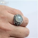 【男装霸气】冰种翡翠蛋面复古银戒指-6GC03