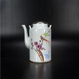 50年代末景德镇款老瓷器纯手工绘粉彩喜上眉梢纹大茶壶