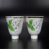 民国老瓷器景镇胡合记造粉彩刷花花卉纹茶杯酒杯一对