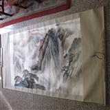 一品黄山,山水图。画心尺寸138 69厘米