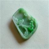 缅甸A货翡翠精工细雕阳绿色飞龙翡翠吊坠