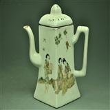 漂亮民国早期瓷制名家唐子桢粉彩美女大茶壶