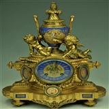 精美法国19世纪古董精铜鎏金双天使大座钟