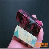 2只印章石(天然新疆桃花玉石、西安绿冻石)